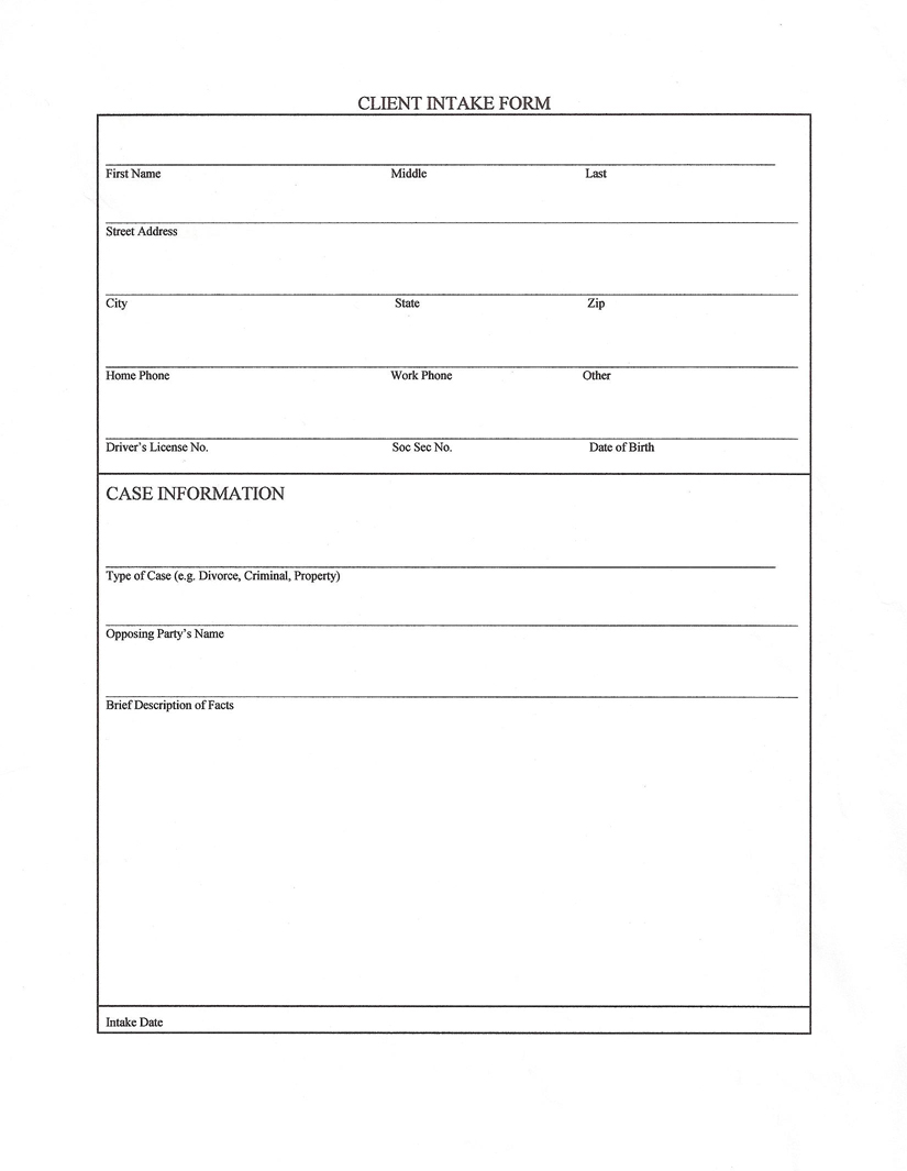 Custom essay order salon client intake form template for Client information form template free download